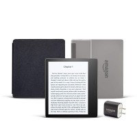 Kindle Oasis Essentials Bundle including Kindle Oasis (Graphite, Ad-Supported), Amazon Leather Cover, and Power Adapter
